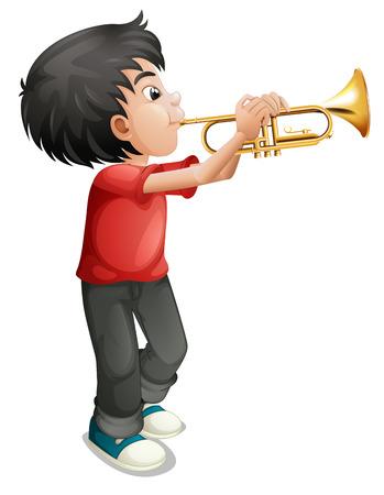 trombon: Ilustración de un niño jugando con su trombón en un fondo blanco