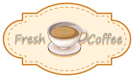 melaware: Illustration of a fresh coffee label with a cup of hot coffee on a white background