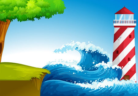 parola: Illustration of the strong waves near the lighthouse