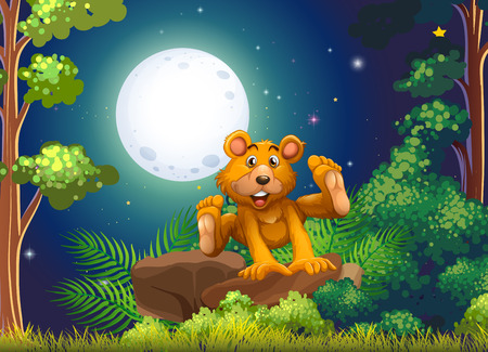 energetic: Illustration of a forest with an energetic bear