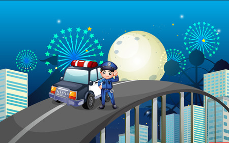 Illustration of a policeman and his patrol car in the middle of the road Vector