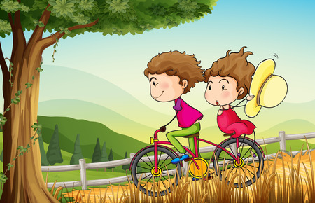 Illustration of a couple riding on a bicycle Vector