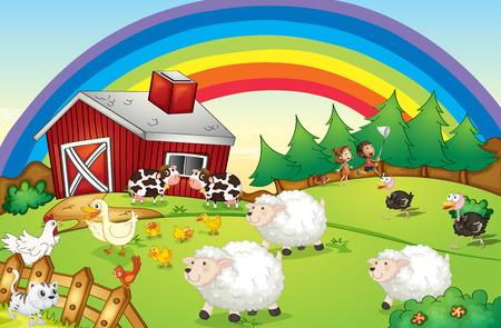 rancho: Ilustración de una granja con muchos animales y un arco iris en el cielo Vectores