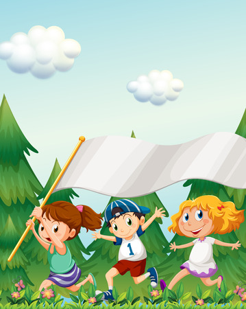 Illustration of the kids running with an empty banner Vector