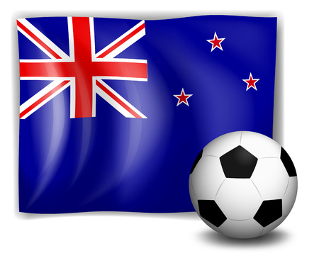 Illustration of the flag of New Zealand with a soccer ball on a white background