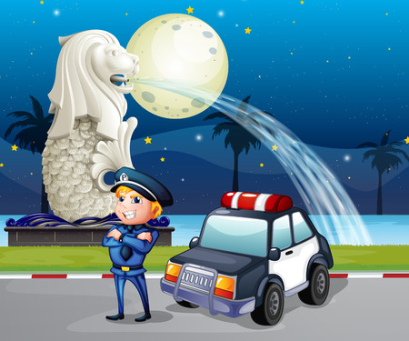 Illustration of a policeman and his patrol car near the statue of Merlion Vector