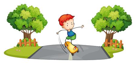 skateboarding: Illustration of a boy skateboarding at the street on a white