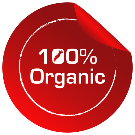 labelling: Illustration of a red round template with an organic label on a white