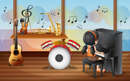 Illustration of a young pianist inside the music room