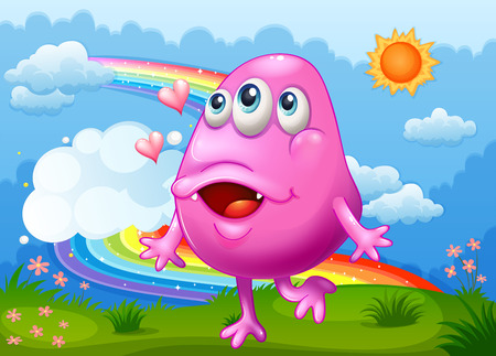 hilltop: Illustration of a happy pink monster dancing at the hilltop with a rainbow in the sky