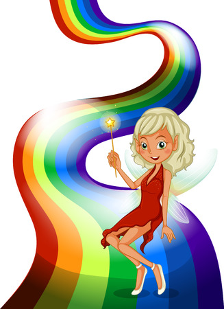 slit: Illustration of a smiling fairy above the rainbow on a white background Illustration
