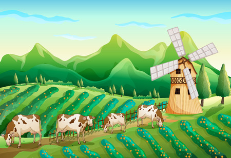 Illustration of a farm with cows Vector