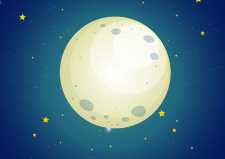 luna caricatura: Ilustración de un cielo con estrellas y una luna