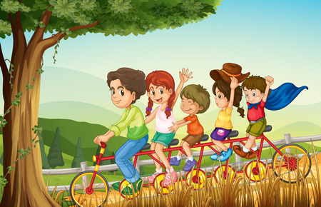 Illustration of a group of people biking Vector