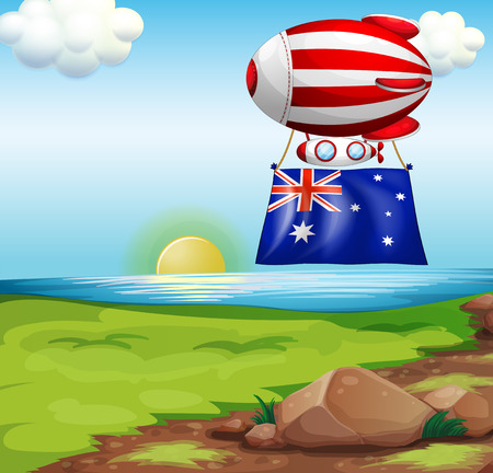 australia landscape: Illustration of a floating balloon with the flag of Australia