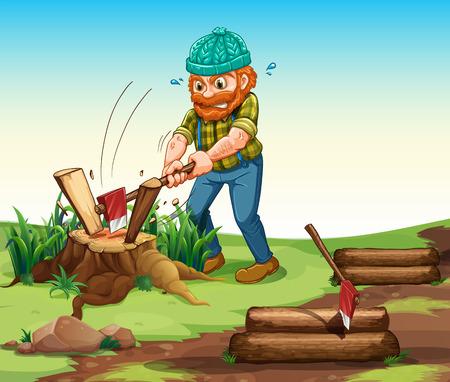 industrious: Illustration of a lumberjack chopping woods Illustration