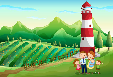 Illustration of a family at the farm with a high tower Vector
