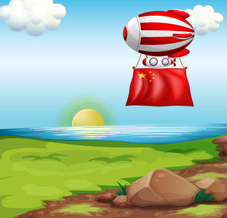 Illustration of a balloon with the flag of China