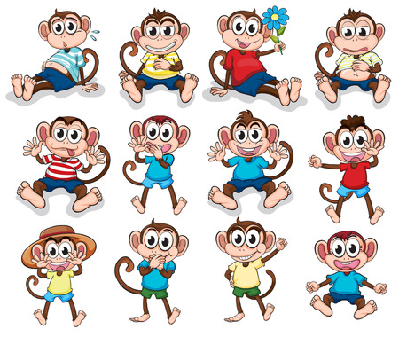 bloated: Illustration of the monkeys with different emotions on a white background