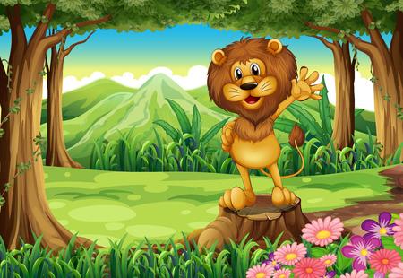 Ilustración de un león de miedo por encima del tocón en el bosque