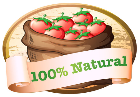 labelling: Illustration of a natural label with a sack of fresh tomatoes on a white background
