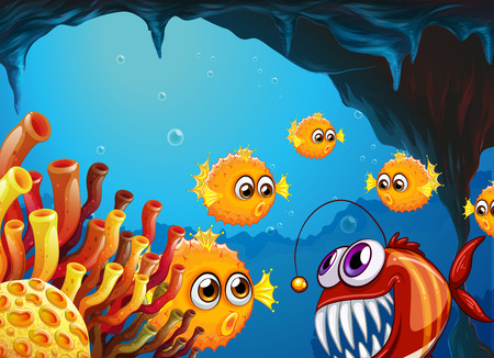 underworld: Illustration of a group of puffer fishes and a scary piranha inside the cave