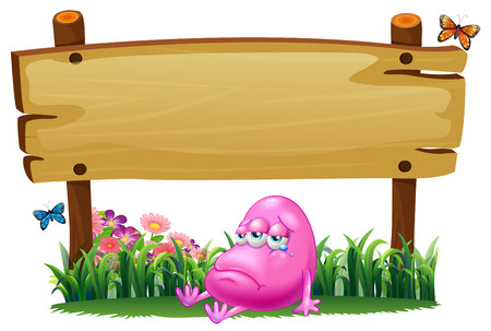 Illustration of a pink beanie monster under the empty wooden signboard on a white background Vector