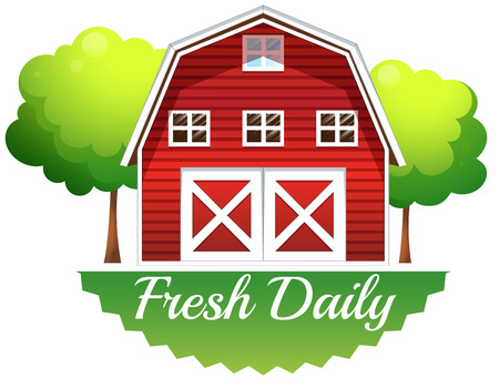 Illustration of a barnhouse with a fresh daily label on a white background Vector