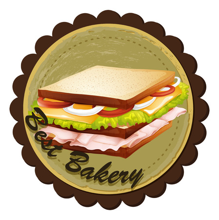 ham sandwich: Illustration of a best bakery label with a sandwich on a white background Illustration