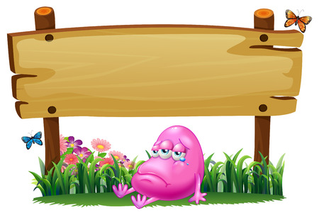 Illustration of a sad pink monster under the empty signboard on a white background Vector