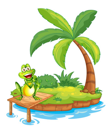 Illustration of an island with a frog above the wooden bridge on a white background Illustration