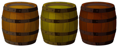 Illustration of the three wooden barrels on a white background Vector
