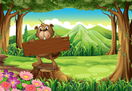 Illustration of a beaver holding an empty signboard at the forest Vector