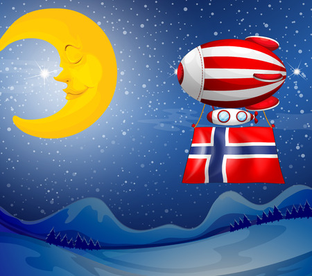tricoloured: Illustration of a floating balloon with the flag of Norway
