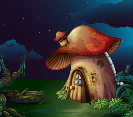 old wooden door: Illustration of a big mushroom house at the forest