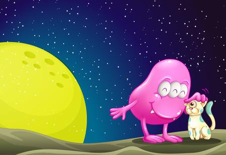 milkyway: Illustratie van een roze beanie monster pacificeren de kat in de outerspace Stock Illustratie