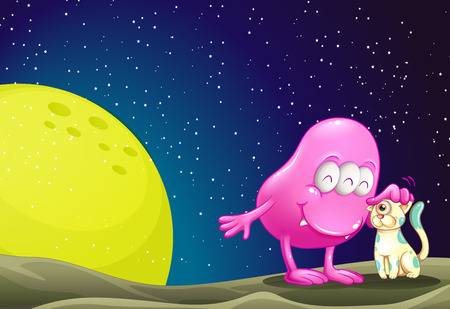 outerspace: Illustration of a pink beanie monster pacifying the cat in the outerspace