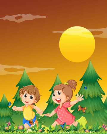 Illustration of the two kids playing at the garden with the butterflies Vector