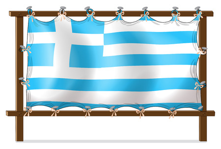 wooden cross: Illustration of the flag of Greece attached to the wooden frame on a white background