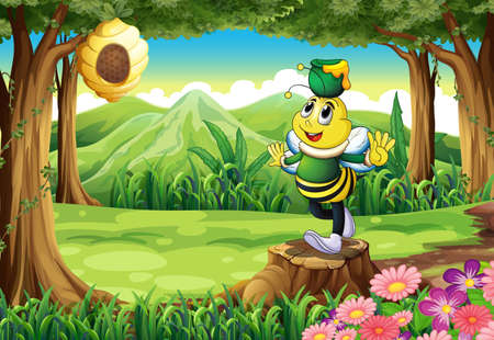 Illustration of a bee with a pot above its head standing on a stump Vector