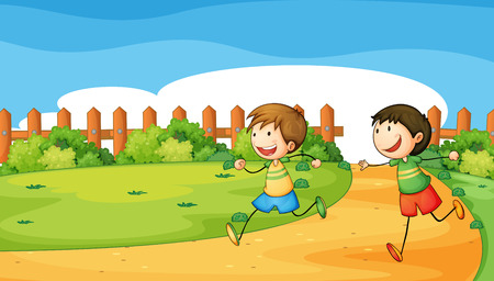 Illustration of the two boys playing inside the wooden fence Vector