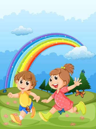 regenbogen: Illustratie van de kinderen spelen op de heuveltop met een regenboog aan de hemel