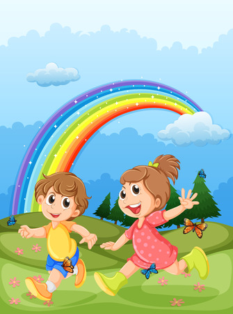 Illustration of the kids playing at the hilltop with a rainbow in the sky Illustration