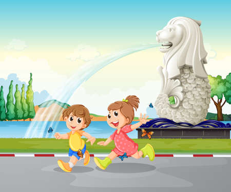 Illustration of the two kids playing near the statue of Merlion Vector