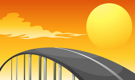 Illustration of a winding road and a sunset Vector