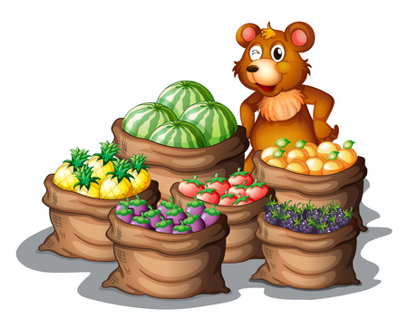 food storage: Illustration of a bear with the newly harvested fruits on a white background