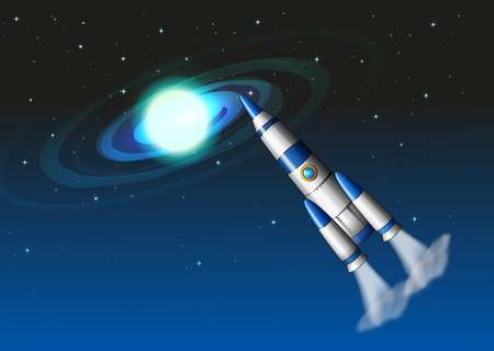 Illustration of a rocket in the sky Vector