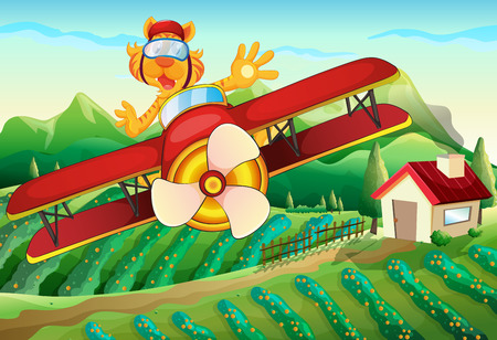 Illustration of a plane with a lion flying above the farm Vector