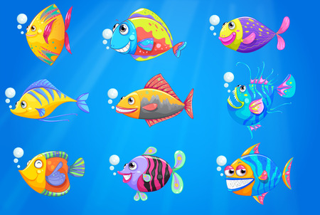 Illustration of a group of beautiful fishes under the sea Illustration
