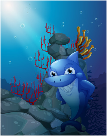 Illustration of a smiling shark near the rocks on a white background Stock Vector - 26273838